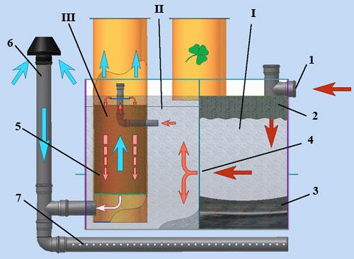 Общая схема устройства септика