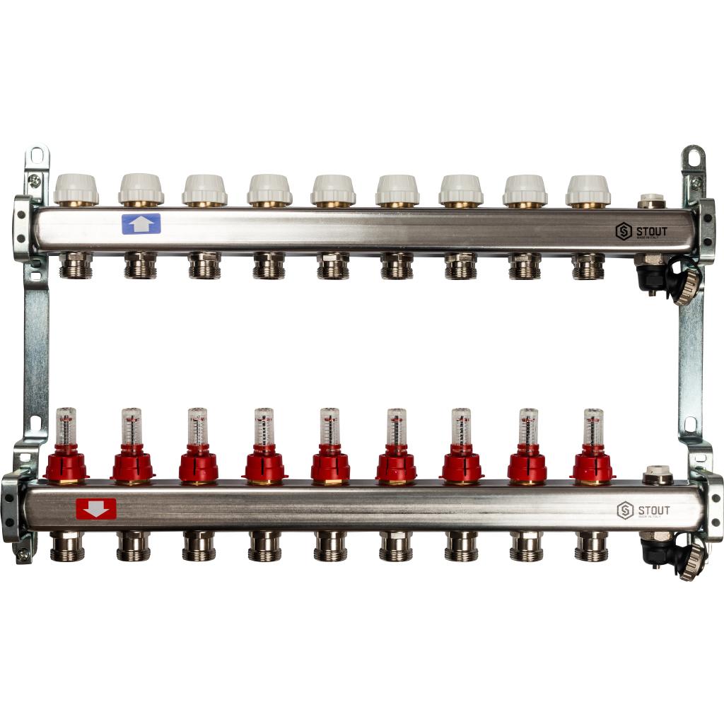 Коллектор из нержавеющей стали с расходомерами, с клапаном вып. воздуха и сливом 9 вых.