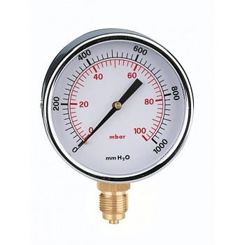 Манометр газовый Caleffi, 0-60 мбар, радиальное присоединение 1/4 дюйма, d 60 мм