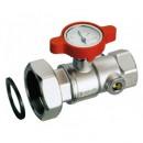 """Шаровой кран со встроенным термометром 1""""НРх1""""ВР/0-120 °C, красный"""