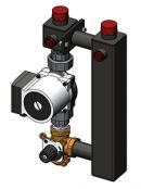 Насосный модуль со смесителем под привод СП25/60 (Grundfos 130 мм+клапан)