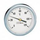 Термометр Caleffi 0-120°C, аксиальное присоединение 1/2 дюйма, d 80 мм, гильза 45 мм