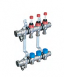 Коллекторная группа из нержавеющей стали ELSEN 1'' с вентилями и расходомерами, 5 контуров 3/4''