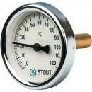 """Термометр биметаллический с погружной гильзой. Корпус Dn 63 мм, гильза 50 мм, резьба с самоуплотнением 1/2"""""""