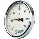 """Термометр биметаллический с погружной гильзой. Корпус Dn 100 мм, гильза 50 мм 1/2"""""""