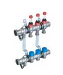 Коллекторная группа из нержавеющей стали ELSEN 1'' с вентилями и расходомерами, 6 контуров 3/4''