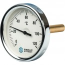"""Термометр биметаллический с погружной гильзой. Корпус Dn 80 мм, гильза 75 мм 1/2"""""""