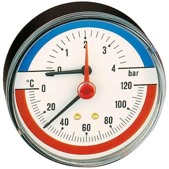 Термоманометр Caleffi 0-120°C, 0-4 бар, аксиальное присоединение 1/2 дюйма, d 80 мм