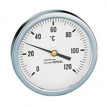 Термометр Caleffi 0-120°C, аксиальное присоединение 1/2 дюйма, d 80 мм, гильза 100 мм