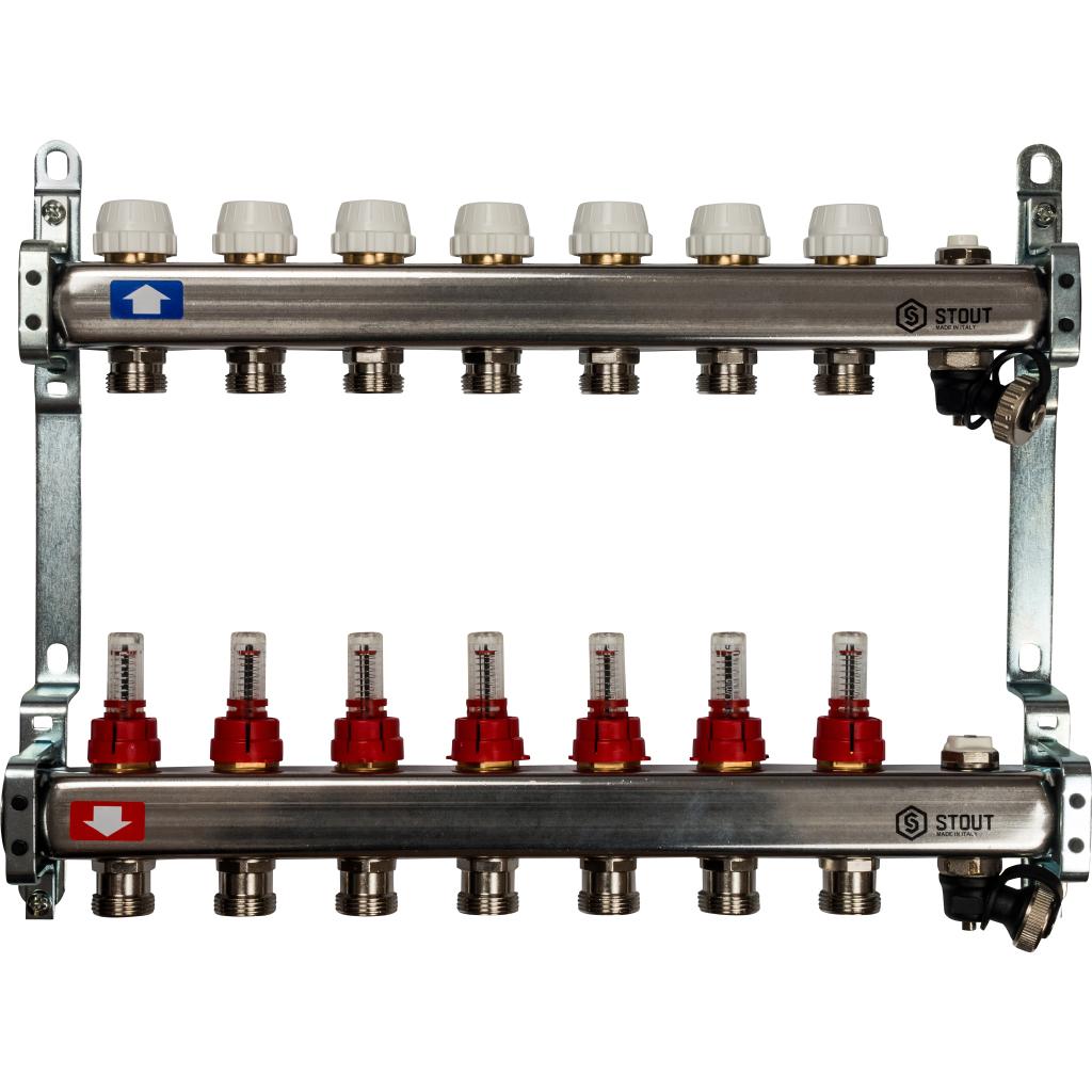 Коллектор из нержавеющей стали с расходомерами, с клапаном вып. воздуха и сливом 7 вых.