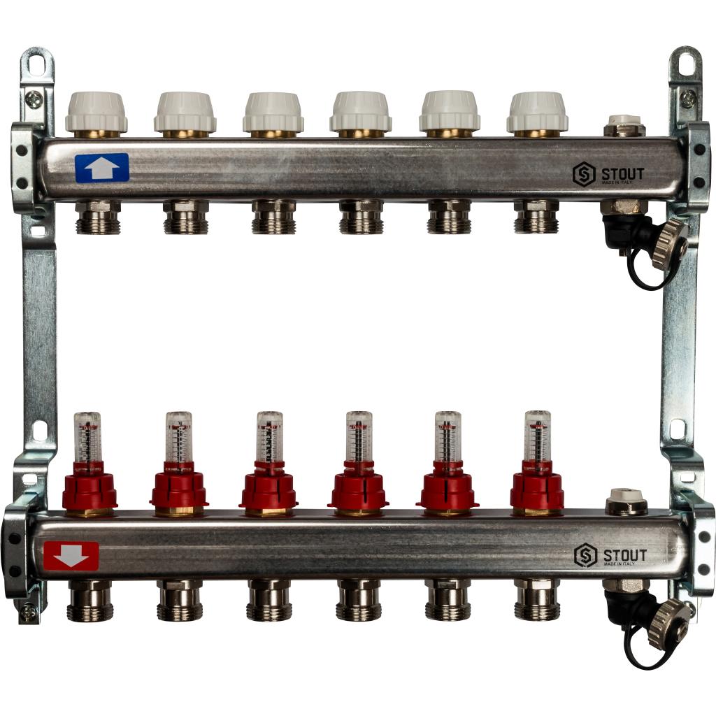 Коллектор из нержавеющей стали с расходомерами, с клапаном вып. воздуха и сливом 6 вых.