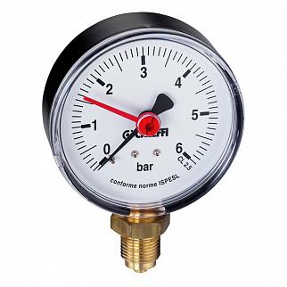 Манометр Caleffi, 0-10 бар, аксиальное присоединение 1/4 дюйма, d 63 мм