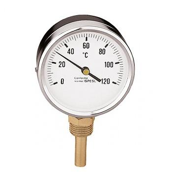 Термометр Caleffi 0-120°C, радиальное присоединение 1/2 дюйма, d 80 мм, гильза 100 мм