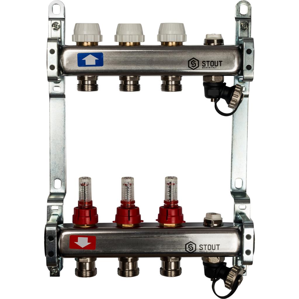 Коллектор из нержавеющей стали с расходомерами, с клапаном вып. воздуха и сливом 3 вых.