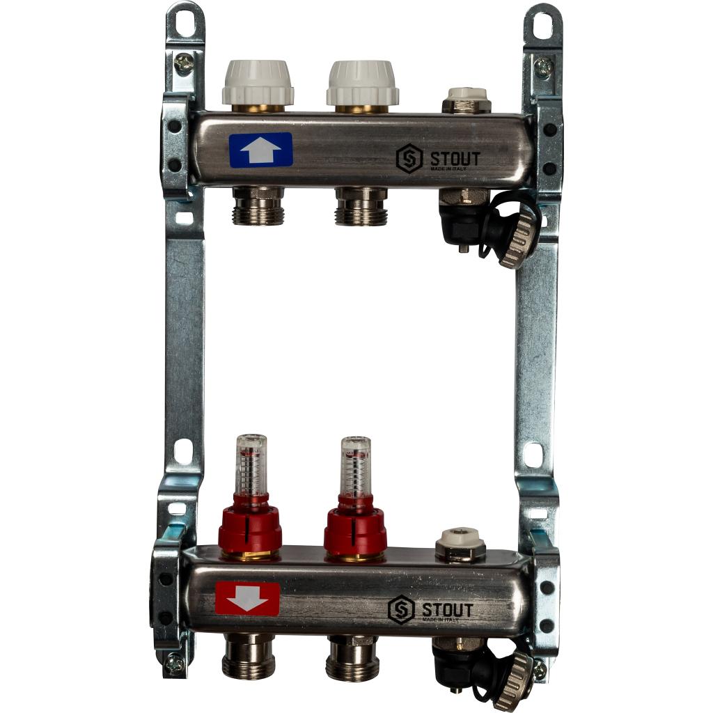 Коллектор из нержавеющей стали с расходомерами, с клапаном вып. воздуха и сливом 2 вых.